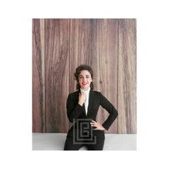Elizabeth Taylor Black Suit, Hand to Lapel, 1956