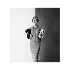 Evelyn Tripp with Two Poodles, Front, 1954.
