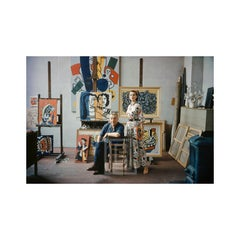 Fernand Leger in Studio, Anne Gunning wearing McCardell's design of Leger's work