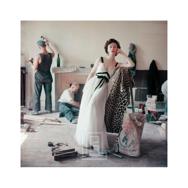 Mark Shaw Color Photograph - Gigi Griffe Chiffon, Black and White Dress, 1953