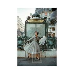 Grey Dior Outside Paris Louvre Metro, 1957