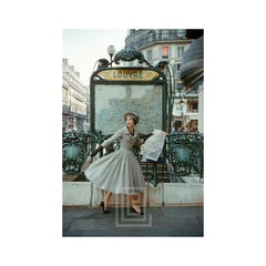 Grey Dior Outside Paris Louvre Metro, 1957
