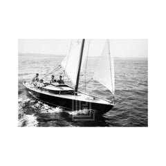 Kennedy, Family Sailing Nantucket Sound, Front of Boat, 1959