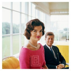 Kennedy, Jackie in Pink with JFK in Yellow Room, Angle, 1959