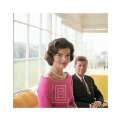 Kennedy, Jackie in Pink with JFK in Yellow Room, Demure, 1959