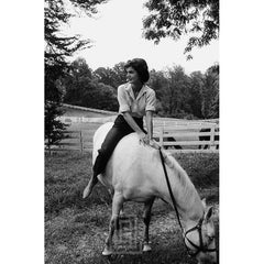 Kennedy, Jackie Rides White Horse, Looking Right, 1963