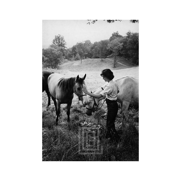 Jackie with Two Horses nb_069 -- Jackie Kennedy photographed for LIFE magazine with her much loved horses at her mother's Virginia estate, Merrywood in 1959. Known for her love of animals, Jackie had been riding since childhood and was considered
