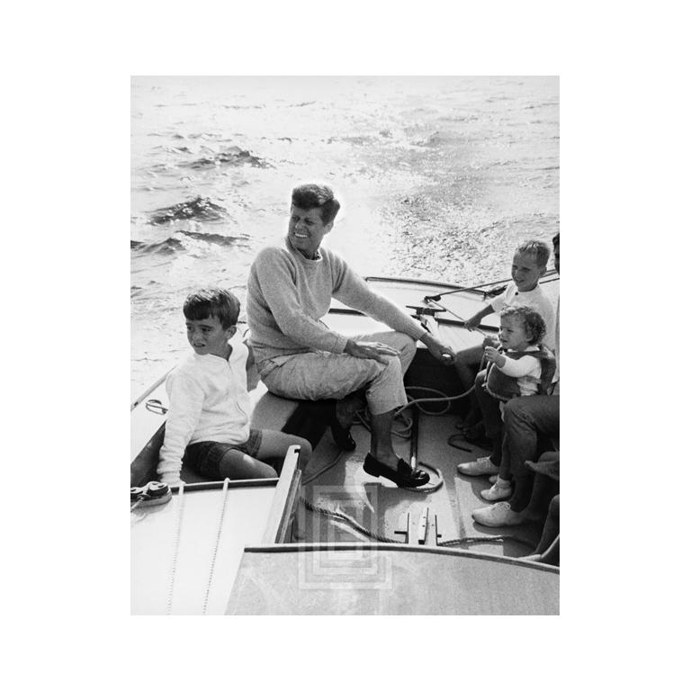 "Kennedy kb_endpiece -- JFK shown sailing off Hyannis Port in 1959. Image size is 22"" x 32"" (for 24"" x 36"" paper size). All Mark Shaw prints are made to order in limited editions on Hahnemuhle photo rag paper. Each print is Estate stamped on the back"