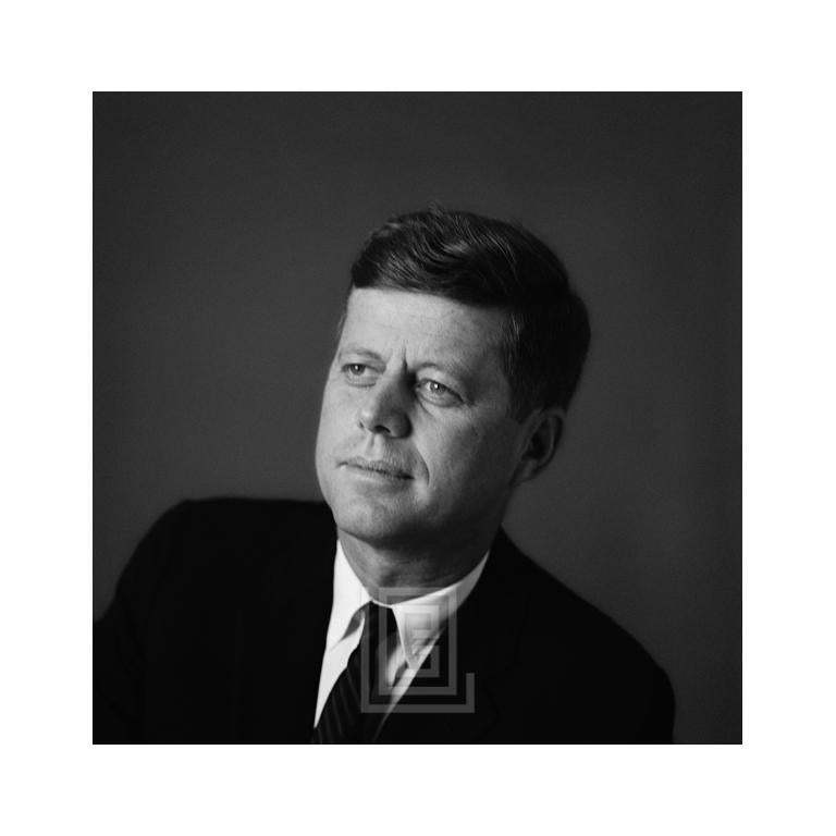 Mark Shaw Black and White Photograph - Kennedy, John F. Portrait, Left Shoulder Front, Looking Up, 1959