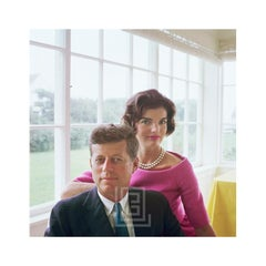 Kennedy, John with Jackie in Pink, Yellow Room, 1959