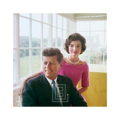 Kennedy, John with Jackie in Pink, Yellow Room, Looking Right, 1959