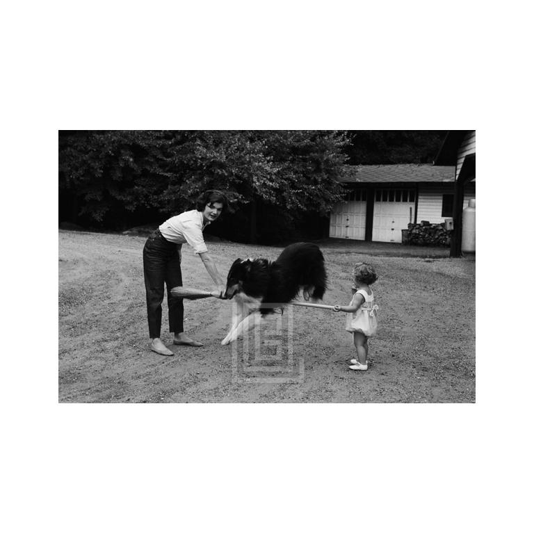 Kennedys, Jackie and Caroline with Collie, 1959