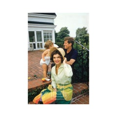 Kennedys, Jackie in Straw Hat & Colorful Skirt, w/John & Caroline, Hyannis Patio