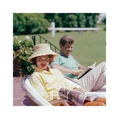 Kennedys, Jackie in Straw Hat, JFK Reading, 1959