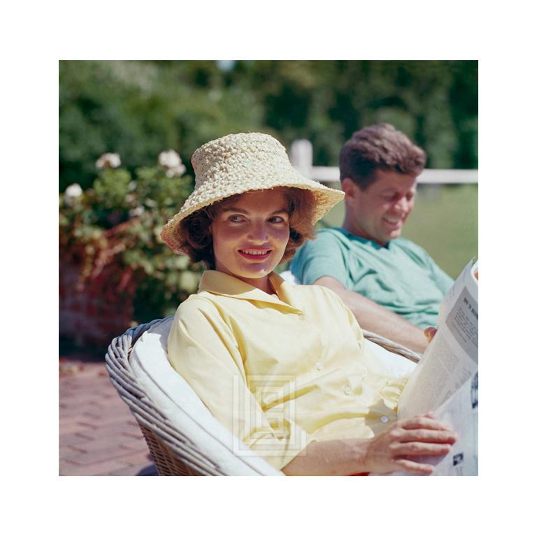 Kennedys, Jackie in Straw Hat, JFK Smiling, 1959 - Photograph by Mark Shaw