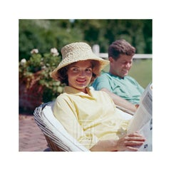 Kennedys, Jackie in Straw Hat, JFK Smiling, 1959