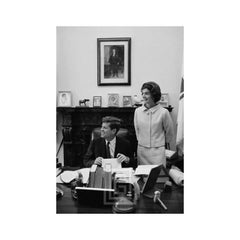 Kennedys, JFK and Jackie at Senate Desk, Smiling
