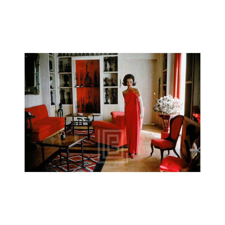 Lee Radziwill Red Gown in Red Room, 1962.