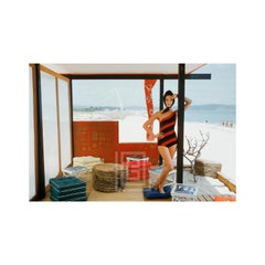 One Shouldered Maillot in St. Tropez Beach Cabana, 1961