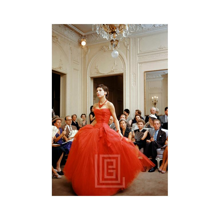 "Victoire Wears Dior Red Gown, 1954. Image size is 22"" x 32"" (for 24"" x 36"" paper size). All Mark Shaw prints are made to order in limited editions on Hahnemuhle photo rag paper. Each print is Estate stamped on the back and signed and numbered by"