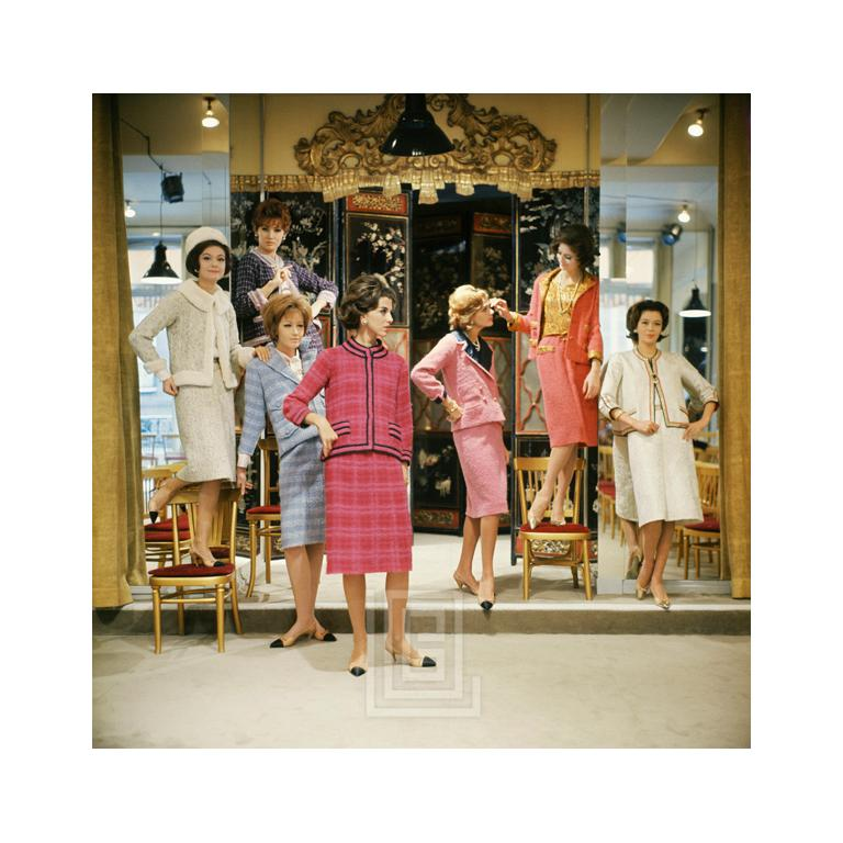 Vera Valdez and Models at Chanel Salon, 1961 -- This image is a an outtake from the September 1, 1961 issue of LIFE. The article was primarily printed in black and white with caption information describing the vibrant colors. As LIFE put it, these