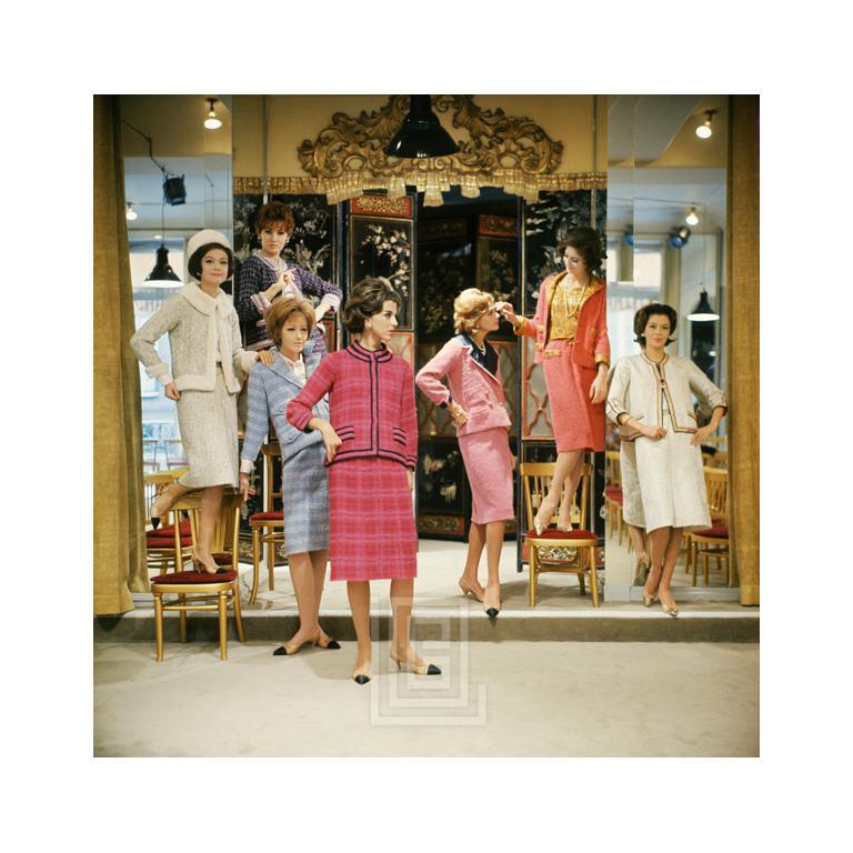 Mark Shaw Color Photograph - Vera Valdez and Models at Chanel Salon, 1961