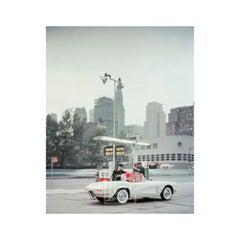 White Corvette at Gas Station, Day, Circa 1960