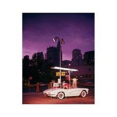 White Corvette at Gas Station, Night, Circa 1960