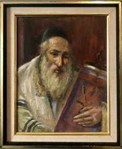 Judaica Oil Painting Chassidic Jewish Rabbi Holding A Sefer Torah Scroll