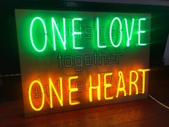 One Love One Heart neon light interior hand blown signed by Neon God sloper