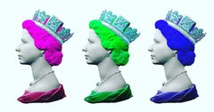 Queen Triptych handprinted queen pink, green and blue signed crown jewels signed