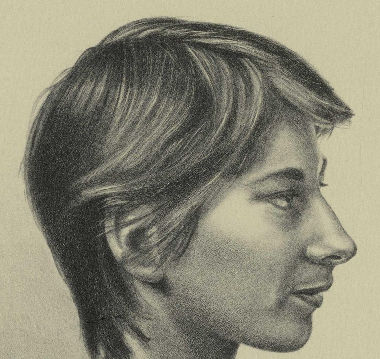 Melinda (color litho profile of woman in striped shirt, short hair on chair) - Print by Mark Stock