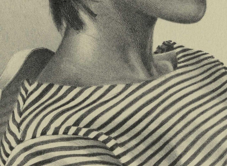 Melinda (color litho profile of woman in striped shirt, short hair on chair) - Modern Print by Mark Stock