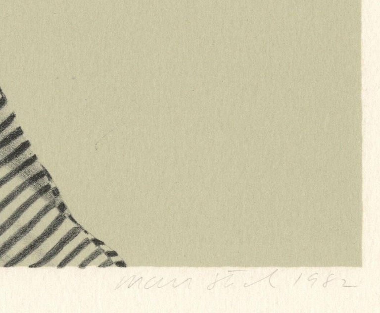Melinda (color litho profile of woman in striped shirt, short hair on chair) - Beige Portrait Print by Mark Stock