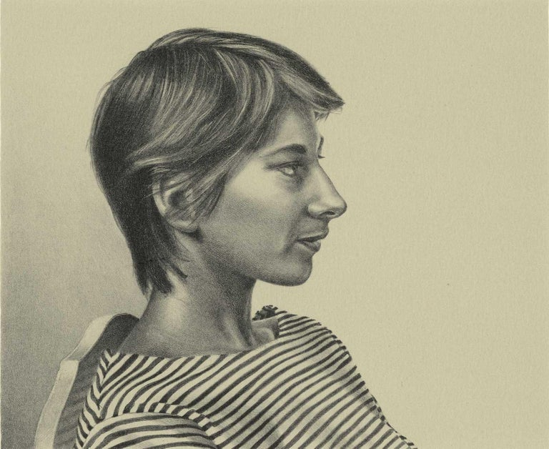 Mark Stock Portrait Print - Melinda (color litho profile of woman in striped shirt, short hair on chair)