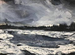 Allowed to Forget, Black & White Atmospheric Landscape and Trees Painting