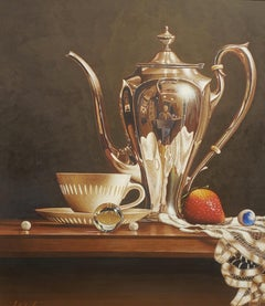 Coffee Cup w/Pearl,Egg Tempera,  Realism,  3D Appearance, American Artist