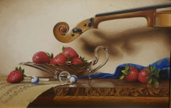 Silver Compote w/Violin,Egg Tempera,  Realism,  3D Appearance, American Artist