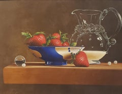 Strawberries and Cream, Egg Tempera,  Realism,  3D Appearance, American Artist