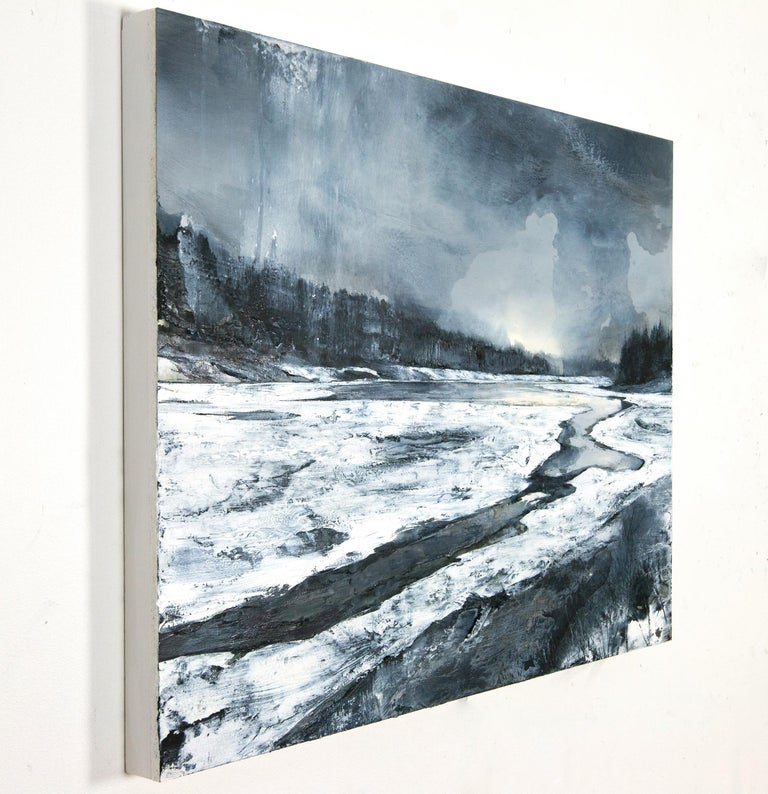 Unseen - Gray Landscape Painting by Mark Thompson