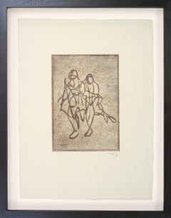 "Original etching ""Companionship"" by Mark Tobey, 1974"