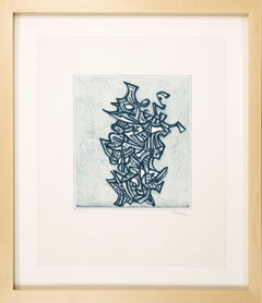 """Original etching """"Liberation"""" by Mark Tobey, 1973"""