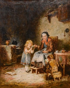 "Oil Painting by Mark William Langlois ""Reading to Grandma"""