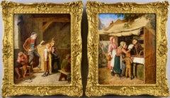 Pair of 19th Century genre oil paintings