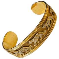 Marked 18-Karat Yellow Gold with Diamond Encrusted Panther Cuff Bracelet
