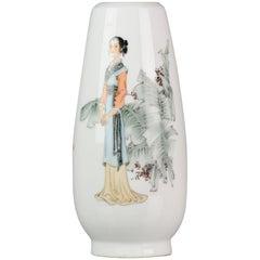 Marked Bo Shan Chinese Porcelain 1970s-1980s Proc Vase Lady Marked Yellow