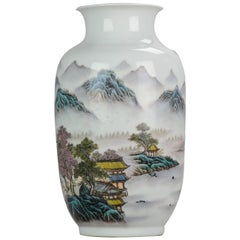 Marked Chinese porcelain 1950s-1960s ProC Vase Landscape Qianjiang Calligraphy