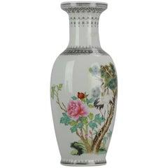 Marked Chinese porcelain 1960s-1970s ProC Vase Crane Birds in Garden Calligraphy