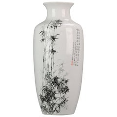 Marked Chinese Porcelain 20th Century ProC Vase Bamboo Calligraphy
