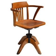 Marked Stella Oak Swivel & Height Adjustable Desk Chair Eames Era France 1950